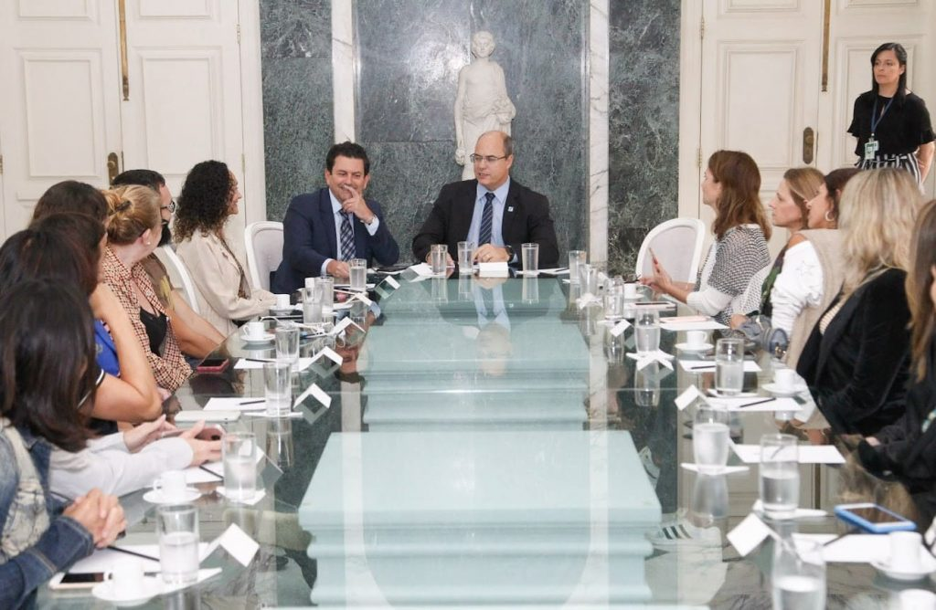 Reunião com o governador durante a Visita guiada ao Palácio Guanabara