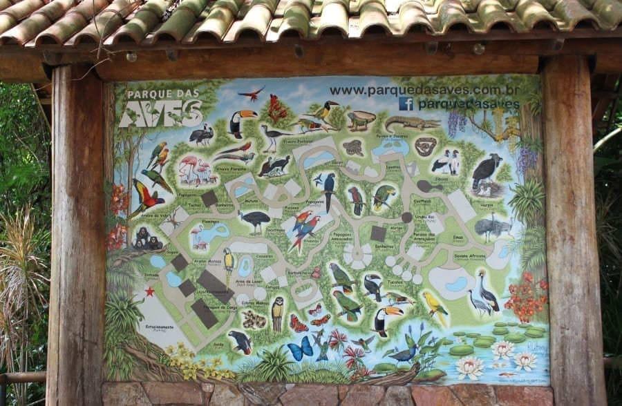 Painel na entrada do Parque das Aves com todas as espécies animais que podem ser conferidas.